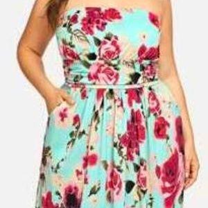 NWOT Strapless Floral Print Maxi Dress Sz16